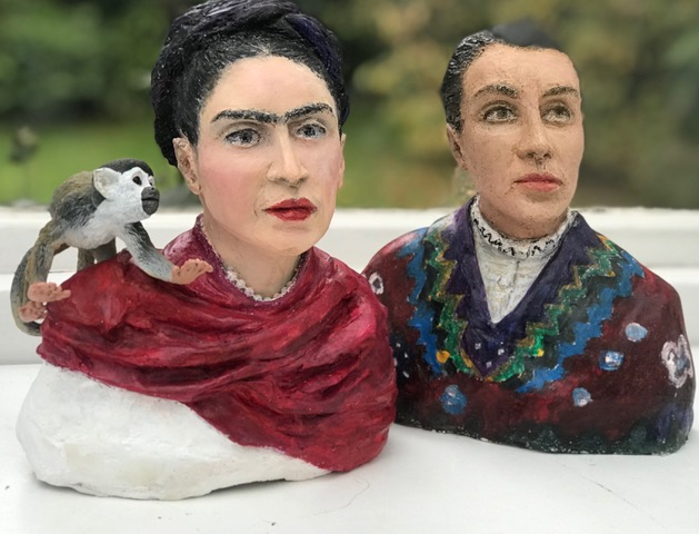 """Frida Kahlo left [1907-1954] with Fulang Chang her spider monkeyChavela Vargas [1919-2012]    Frida Kahlo was a beautiful Mexican painter ,an iconic figure in Mexico , she was known for many of her self portraits .Her work was inspired by her life , her lifelong physical pain due to an accident in her youth , her distress caused by her volatile marriage to famous muralist Diego Rivera. Her work was not only subjective ,it referred to life and death , birth and termination ,male and female , Mexican and European  ,Her love life was turbulent , she had affairs with both men and women. One of her lover Chavela Vargas was Costa Rica-.born Mexican singer .Often dressed in men's clothing she was a powerful ,free spirited outsider , she won multiple awards for her songs , My favourite song """"La Llorona Anne Lister left [1791-1840 -Ann Walker [1803-1854].    [photo Galia_sherf]"""